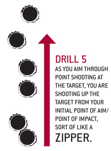 DRILL 5 as you aim through point shooting at the target, you are shooting up the target from your initial point of aim/point of impact, sort of like a zipper.