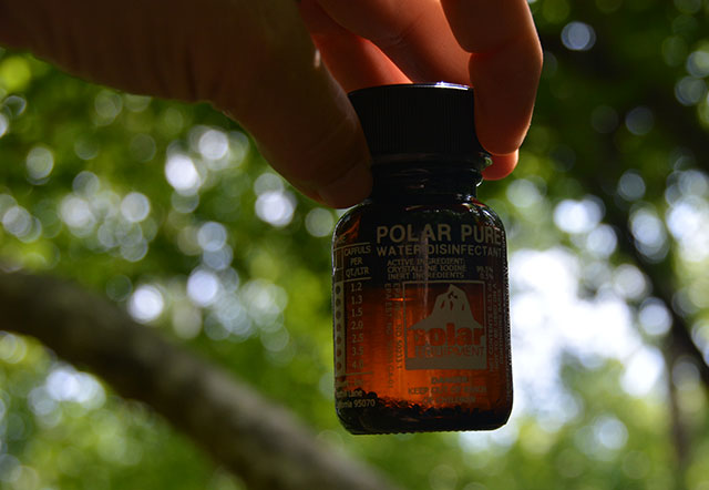 Polar Pure uses iodine crystals to disinfect water.
