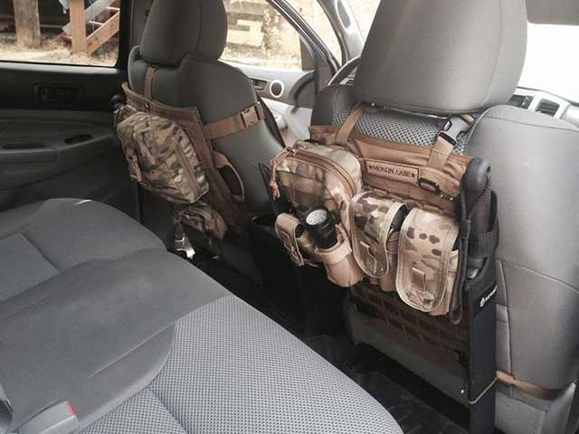 Even the backs of seats can be used creatively to store gear essential to your survival.