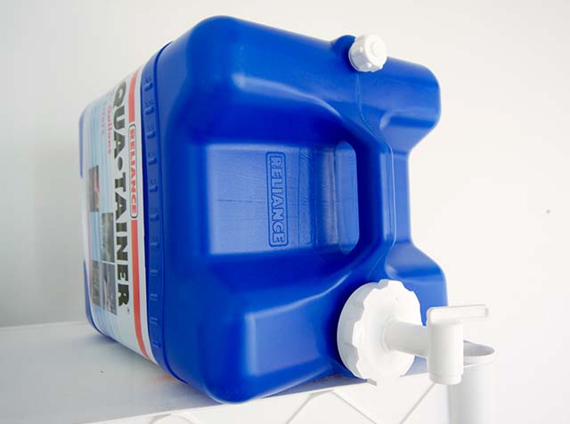 Water is easily stored in these 7 gallon containers and you can move them where you like.