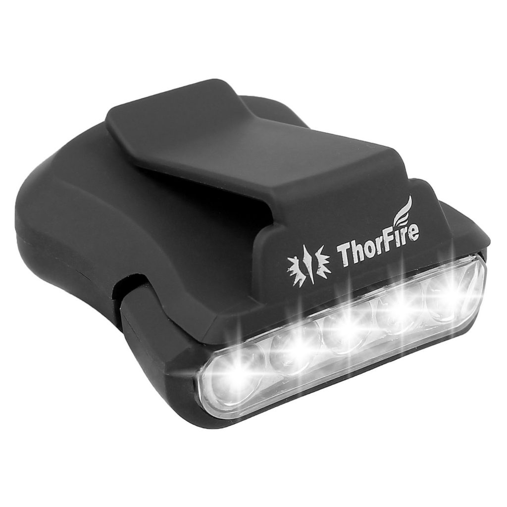 ThorFire Cap Hat Light 5-LED Headlamp Rotatable Ball Cap Visor light Clip-on Hat Light