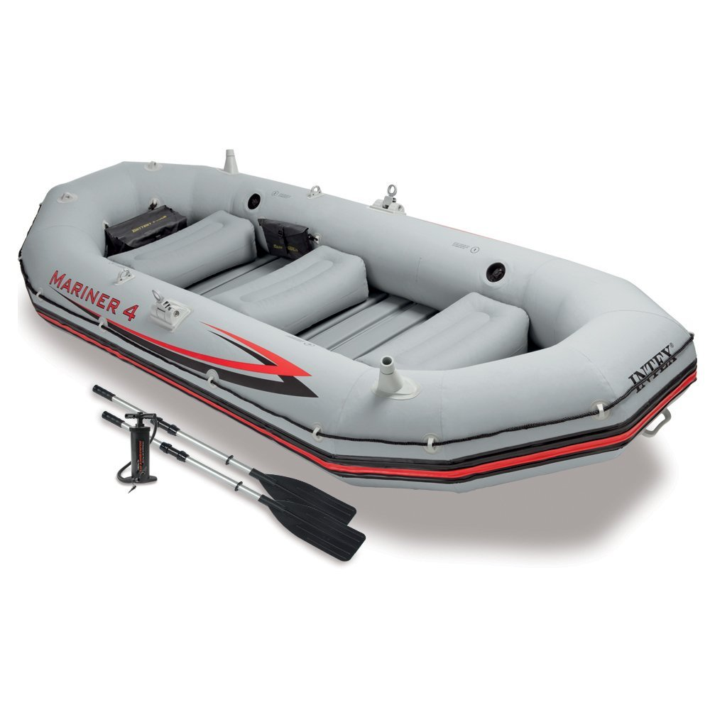 4-Person Inflatable Boat Set with Aluminum Oars and High Output Air Pump
