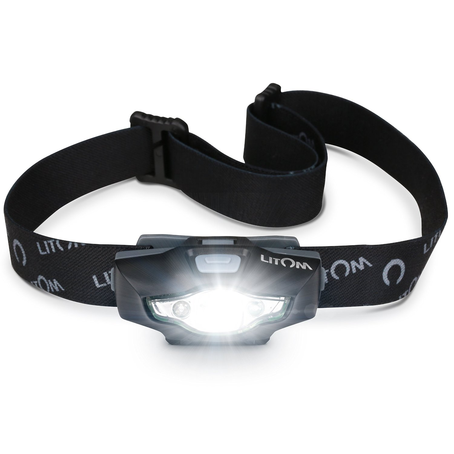 LITOM Headlamp Flashlight with White/Red LED, IPX6 Waterproof Helmet Light