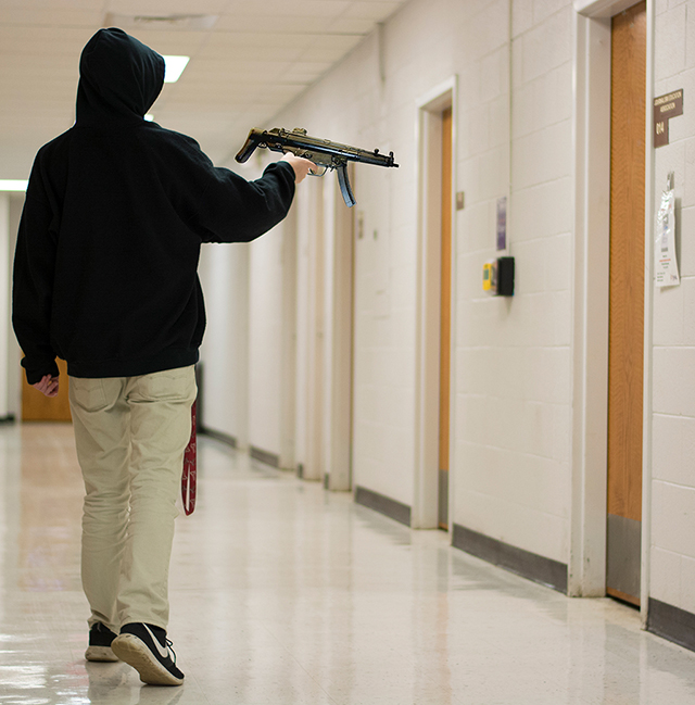 With the rise of active shooter incidents in the United States, students and faculty members are highly encouraged to be aware of the policies to follow in order to promote safety precautions in case of an active shooter incident were to take place. (Photo Illustration by Cassandra Nguyen | The Collegian)