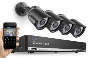 Video Security System Four 800+TVL Weatherproof Cameras, 65ft Night Vision, 984ft Transmit Range, 500GB HDD