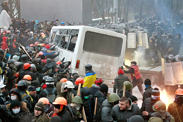 Riots in Kiev protesting government.
